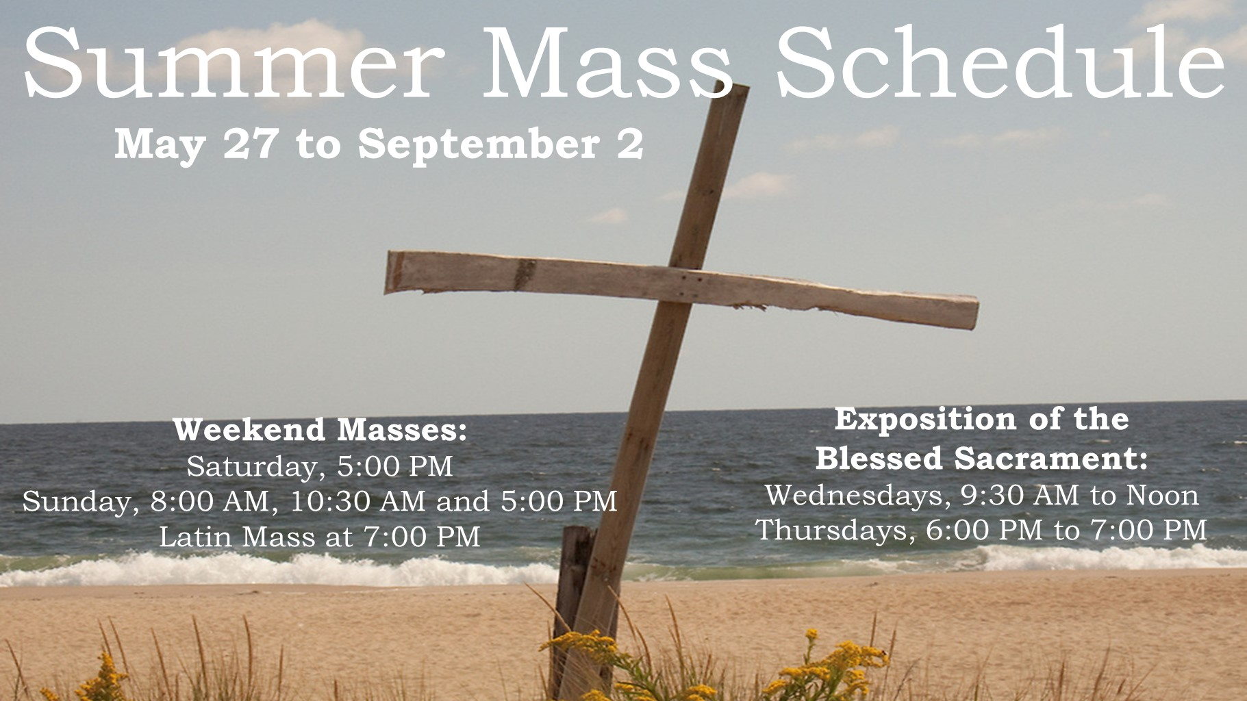2018 Summer Mass Schedule